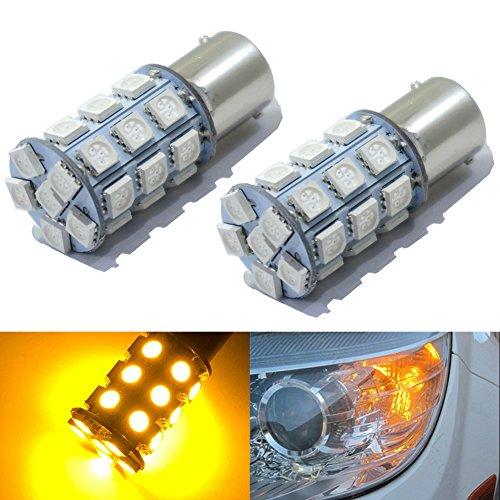 KATUR 2-Pack Amber Super Bright 750Lums 1156 BA15S 1141 1073 1095 1003 7506 Base 27 SMD 5050 LED Replacement for Car Incandescence Bulb RV Camper Brake Turn Lamp Lights DC 12V 8000K
