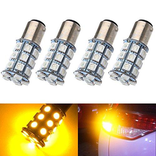 KATUR 4-Pack Amber Super Bright 750Lums 1157 BAY15D 1016 1034 1196 2057 2357 Base 27 SMD 5050 LED Replacement for Car Incandescence Bulb RV Camper Brake Turn Lamp Lights DC 12V 8000K