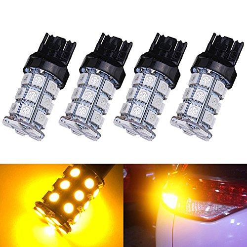 KATUR 4-Pack Amber Super Bright 750Lums 7443 7444NA Base 27 SMD 5050 LED Replacement for Car Incandescence Bulb RV Camper Brake Turn Lamp Lights DC 12V 8000K