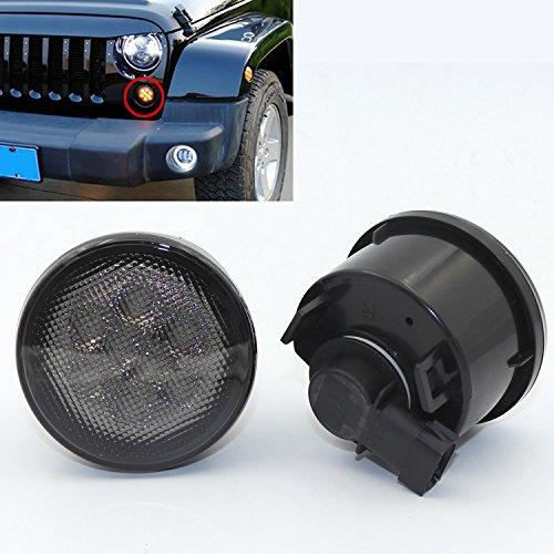 2pcs LED Front Turn Signal Lamp Amber Beam Light For Jeep Wrangler JK 2007-2016 Black