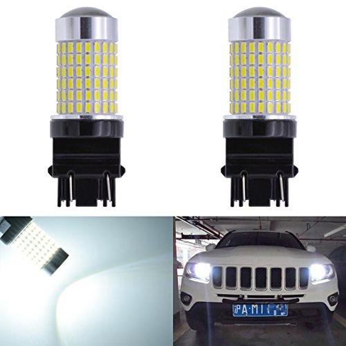 KaTur Extremely Bright 1500 Lumens 3014 144SMD 3157 3047 3057 3457 3155 3156 3456 Lens LED Brake Light Turn Signals Bulbs Reverse Tail Lights 12V-24V White 6000K 2-Pack