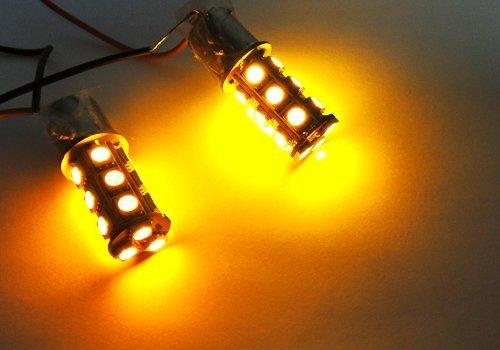 LEDIN 2x Amber High Power 18 SMD LED Brake Light Bulb 1156 BA15s 7506 3496