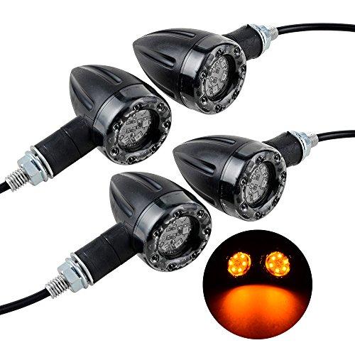 4X Universal Motorcycle Integrated Red Amber LED Turn Signal Running Brake Light