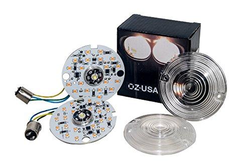 Front White Amber OZ-USA Dual LED Bulb 1157 Turn Signal Kit Harley Day Time Running Touring Maker 1157