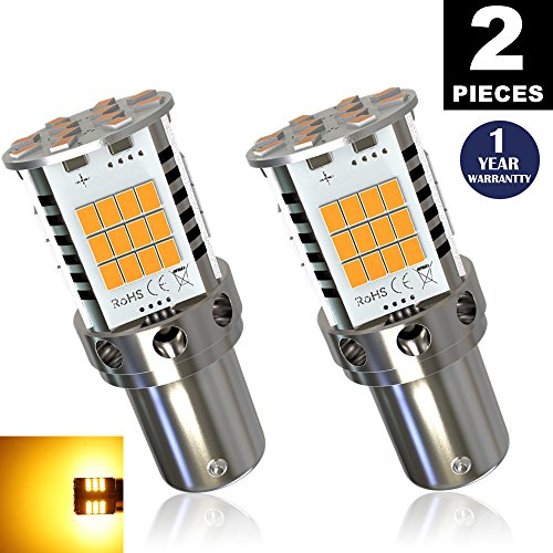 LUYED 2 Premium Amber LED Turn Signals Super Bright 1 pair No Hyper Flash Error Free 7507 1156PY BAU15S FrontRear LeftRight indicator lights