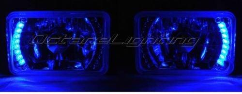 OCTANE LIGHTING 4X6 Blue Led Halo Drl Halogen Headlight Headlamp Light Bulbs Crystal Clear Pair