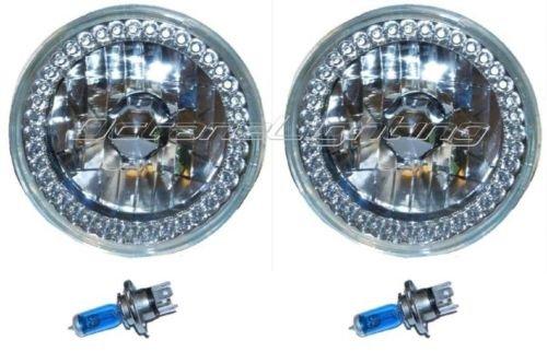 OCTANE LIGHTING 5-34 Halogen Blue Led Ring Halo Angel Eyes Headlight Headlamp Light Bulbs Pair
