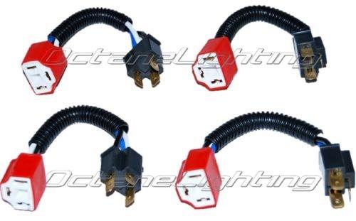 OCTANE LIGHTING Ceramic H4 Hi Heat Headlight Headlamp Light Bulb Wiring Harness Socket Plug 4X6