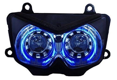 250R HID Headlights Assembly CCFL Angel Demon Eyes Projector Head Light for Kawasaki Z750 2003 z1000 2003-2006
