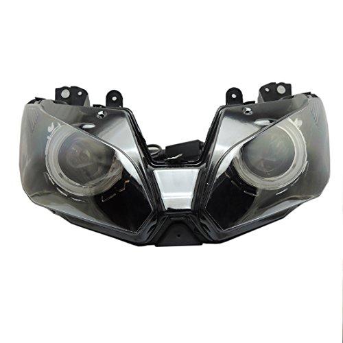 KEMIMOTO Ninja 300 Angel Eye Headlight Assembly HID Projector Custom for Kawasaki Ninja 300 ZX-6R 2013 2014 2015 2016