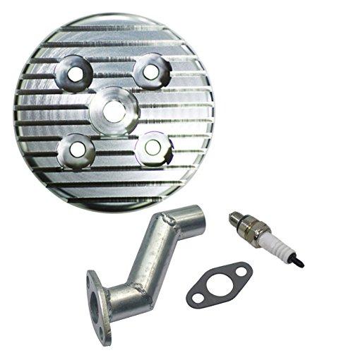 Sthus CNC Silver Cylinder Head Spark Plug Intake Manifold Fit 80cc Motorized Bike