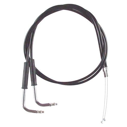 Black Vinyl Coated 4 Throttle Cable set for 2002-2007 Harley-Davidson FLHT FLHTC models without Cruise - HC-0340-0148-EGC