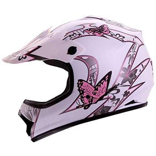 IV2 Youth  Kid Size White Pink Butterfly Motorsports Motocross ATV UTV Dirt Bike Helmet DOT L