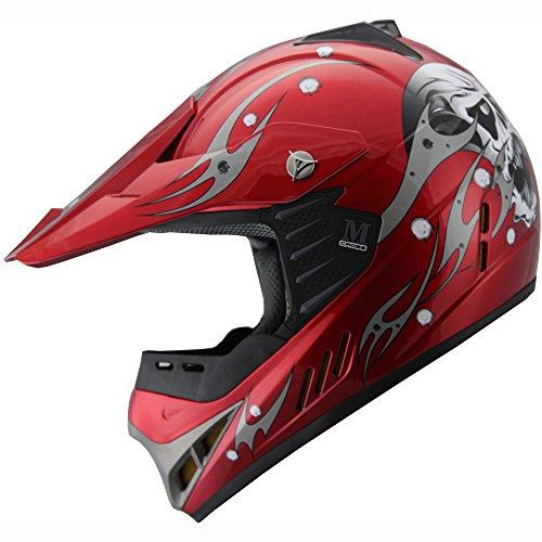 Kid Youth ATV Motocross Dirt Bike Off Road Helmet B82 Skull Red YXL