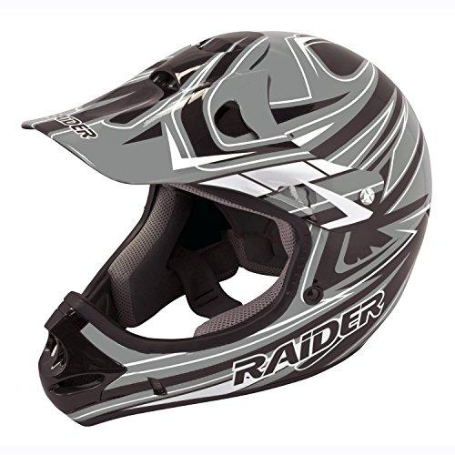 Raider Youth Kids Rush MX Motocross ATV Off-Road Helmet Grey Large