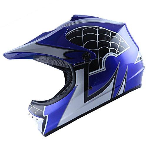 WOW Motocross MX Helmet BMX Youth ATV Dirt Bike Blue Spider M 52-53 CM205209 Inch