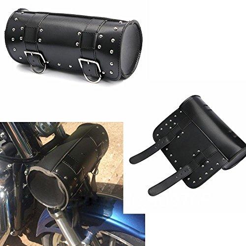 Logas Small Motorcycle Handlebar Bag Tool Roll Barrel Storage PU Leather Black Saddlebag