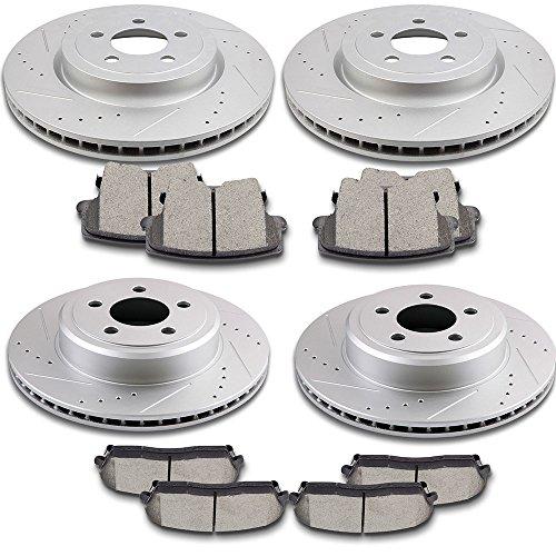 SCITOO Brake Kit Drilled and Slotted Brake Rotors Discs and Ceramic Brake Pads for 2005-2015 Chrysler 3002009-2014 Dodge Challenger 2006-2017 Dodge Charger2005-2008 Dodge Magnum