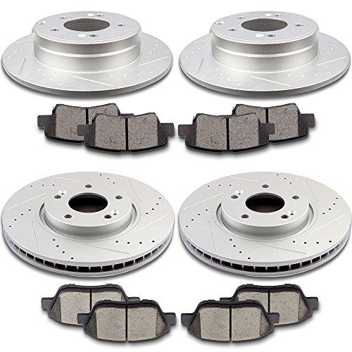 SCITOO Brake Kit Drilled and Slotted Brake Rotors Discs and Ceramic Brake Pads for 2009-2015 Hyundai Sonata2011 - 2013 Kia Optima