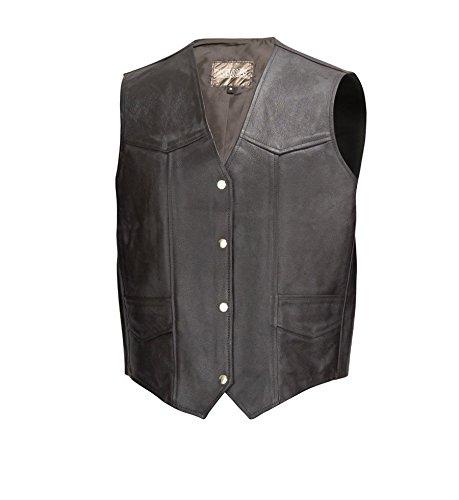 Men Classic Cowhide Leather Motorcycle Biker Vest Black 3XL