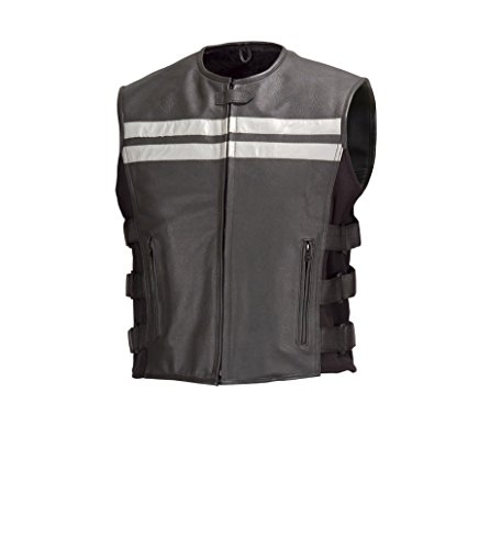 Men Cowhide Leather Motorcycle Biker Vest Reflective Stripes Black