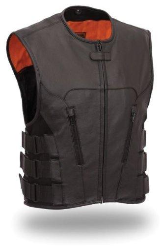 Mens Leather Swat Team Style Motorcycle Biker Vest Bullet XL 46 - 48