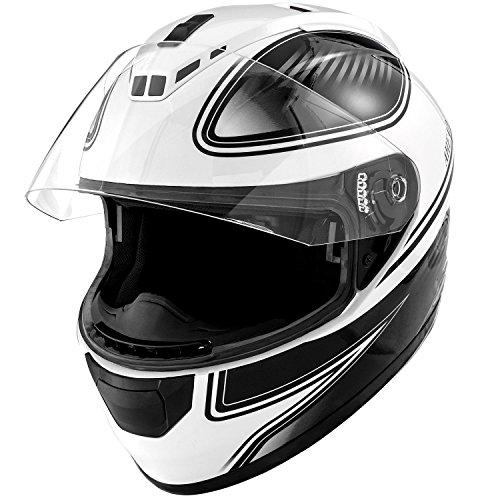 DOT Motorcycle Helmet Full Face KOI Gloss White w Clear Visor - Adult Medium