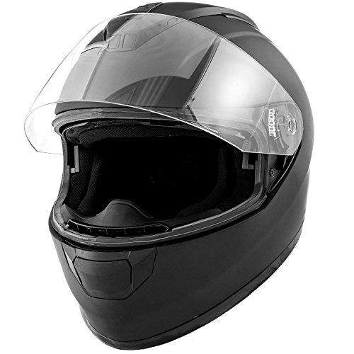DOT Motorcycle Helmet Full Face KOI Matte Black w Clear Visor - Adult Small
