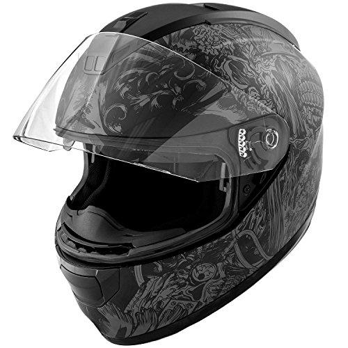 DOT Motorcycle Helmet Full Face KOI Skull Art Matte Grey w Clear Visor - Medium
