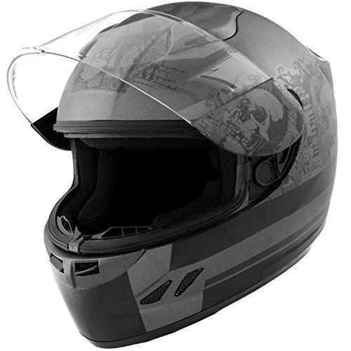 DOT Motorcycle Helmet Full Face KOI Skull Matte Grey w Clear Visor - Medium