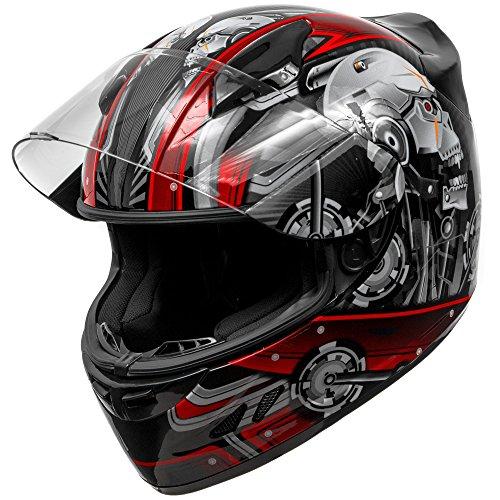 KOI DOT Motorcycle Helmet Full Face KOI Cyborg Skull Gloss Red w Clear Visor - XL