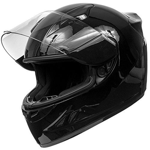 KOI DOT Motorcycle Helmet Full Face KOI Sportbike Gloss Black w Clear Visor - Large