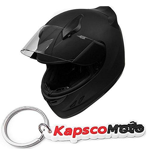 KOI DOT Motorcycle Helmet Full Face KOI Sportbike Matte Black w Clear Visor - Large  KapscoMoto Keychain
