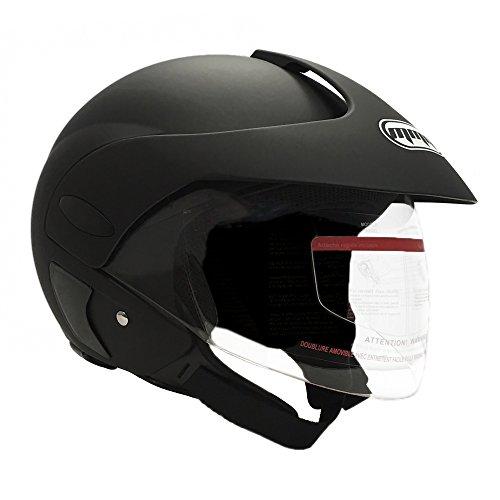 MMG Motorcycle Open Face Helmet DOT Street Legal - Flip Up Clear Visor - Matte Black 203 Medium