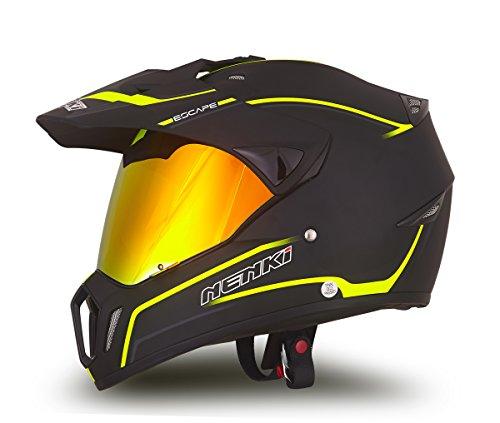 NENKI Helmets NK-310 Full Face Motocross Motorcycle Helmets Dot Approved With Iridium Red Visor Attached Clear Visor L Matt Black Green