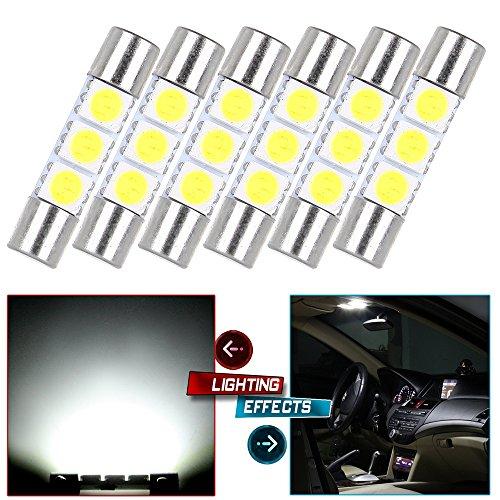 CCIYU 6x White LED 28mm-31mm 5050 3SMD Fuse Vanity Mirror Light Bulb For 3056 3057 TS-14V1CP 6000k 28mm 29mm 30mm 31mm For Car Interior Sun Visor Vanity Mirror Light