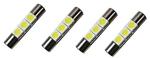 Cutequeen Trading 4pcs LED Mirror Fuse Sun Visor 6641 White 30mm123 5050 3-SMD 12V Festoon Dome Light LED Bulbs pack of 4