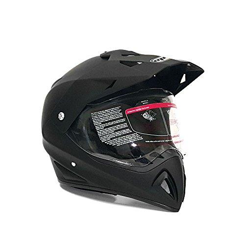 Helmet Dual Sport Off Road Motorcycle Dirt Bike ATV - FlipUp Visor - 27V Matte Black Medium