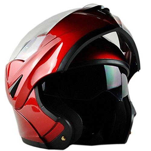 ILM 10 Colors Motorcycle Dual Visor Flip up Modular Full Face Helmet DOT M Red