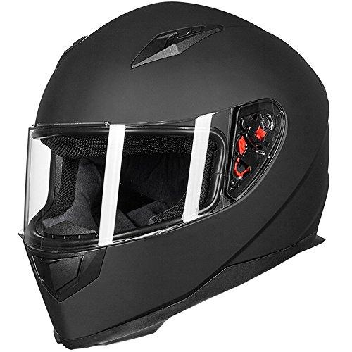 ILM Full Face Motorcycle Street Bike Helmet with Removable Winter Neck Scarf  2 Visors DOT L Matte Black