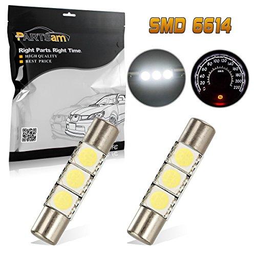 Partsam 2PCS White 29mm Festoon LED Light Interior Vanity Mirror Sun Visor Lamps