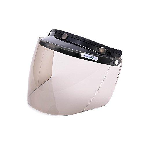 Universal 3 Snap Flip Up Visor Face Shield Lens for Open Face Motorcycle Helmets by MotorFansClubLightSmoke