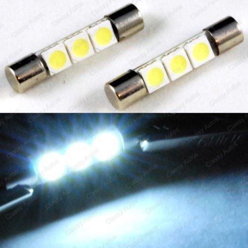 ZHOL SUPER BRIGHT White Vanity LED Light bulbs Mirror Fuse Sun Visor 3-SMD 6641 A Pair