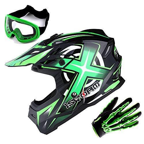 1Storm Adult Motocross Helmet BMX MX ATV Dirt Bike Helmet Racing Style Glossy Green  Goggles  Skeleton Green Glove Bundle