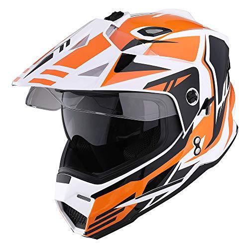 1Storm Dual Sport Motorcycle Motocross Off Road Full Face Helmet Dual Visor Storm Force Orange Size XL