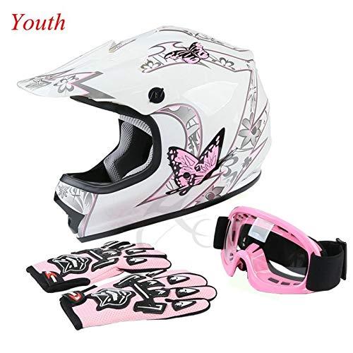 TCT-MT DOT Youth Helmet wGoggles Gloves Pink Butterfly ATV Dirt Bike Motocross Helmet Gloves Goggles S~XL Large