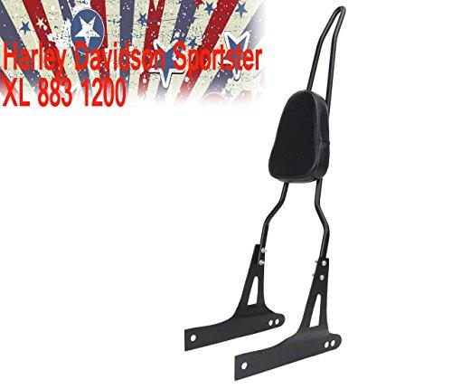E-Most PU Detachable Backrest Passenger Pad Driver Rider Sissy Bar Luggage Rack For Harley Davidson Sportster XL 883 1200 2004-UP Black