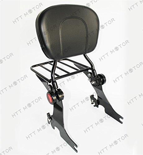 HTTMT- Adjustable Detachable Sissy Bar for 04 - UP Harley Sportster Backrest with Rack