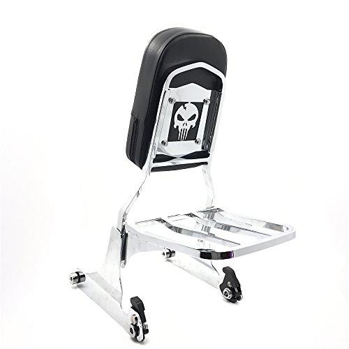 XKMT Group Skull Chrome Detachable Sissy Bar Backrest Luggage Rack for Harley Softail FLH