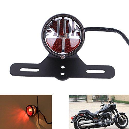 Kawayee Black Round LED Stop Vintage License Plate Mount Tail Brake Light For Harley Bobber Chopper